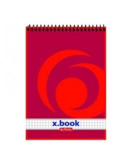 Bloc notes cu spirală A6 50 file, pătrăţele, X.book
