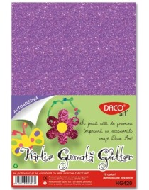 Hârtie gumată glitter A4 10 culori Daco