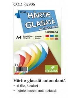 Hartie glasata autocolanta 6 culori/set