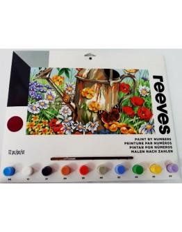 Pictura pe numere Gradina cu flori Reeves