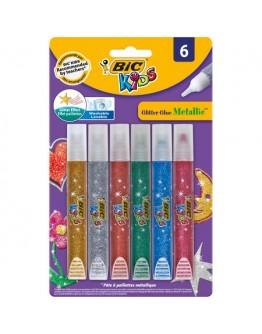 Lipici cu sclipici BIC Kids Glitter Glue Metallic, diverse culori, 6 buc/set