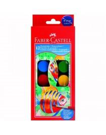 Acuarele 12 culori+Pensula 24mm Faber-Castell