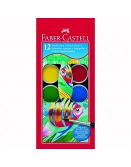 Acuarele 12 culori+Pensula 30mm Faber-Castell