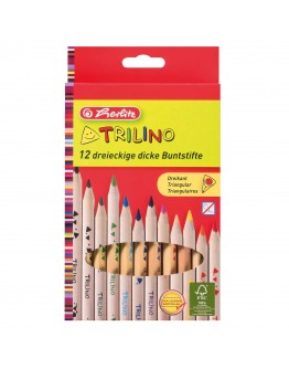 Creioane color triunghiular TRILINO Herlitz set 12 buc