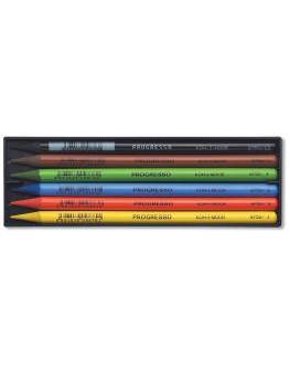 Creioane colorate PROGRESSO, fara lemn, 6 culori/set KOH-I-NOOR - In cutie plastic