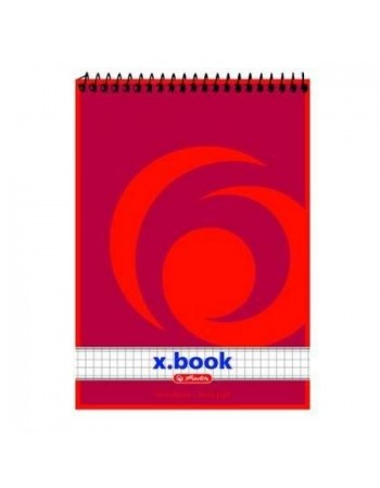 Bloc notes cu spirală A7 50 file, pătrăţele, X.book