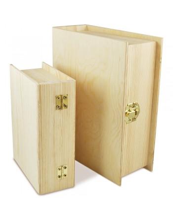 cutie din lemn masiv tip carte cu inchizatoare metal - 2buc/set