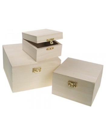 Set de 3 cutii din lemn patrate