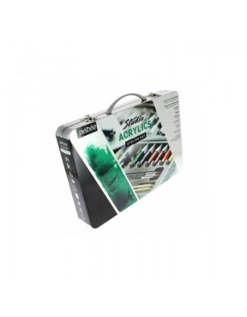 Set culori acrilice si accesorii (cutie metalica) Atelier Pebeo