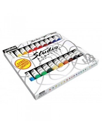 Set 20 culori acrilice Studio Pebeo + 1 pensula cadou