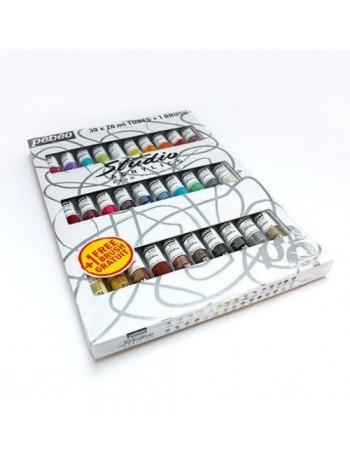 Set 30 culori acrilice Studio Pebeo + 1 pensula cadou