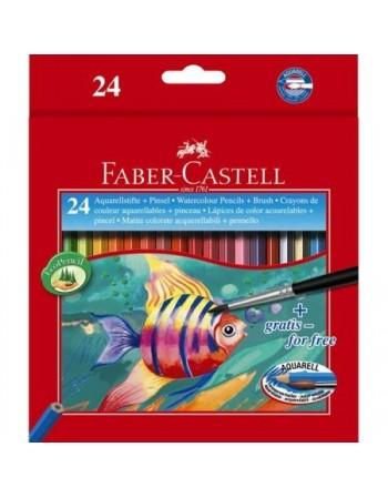 Creioane Colorate Acuarela 24 Bucati si Pensula Faber-Castell