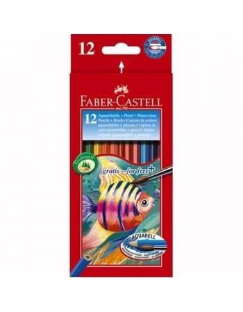 Set 12 Creioane colorate acuarela Faber-Castell, cu pensula