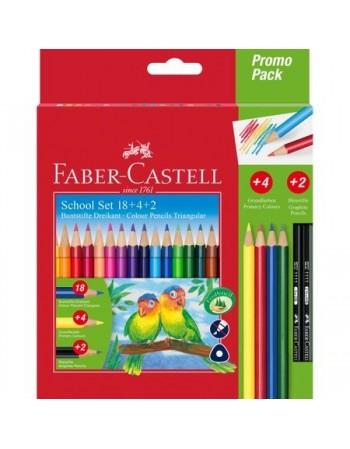 Set 18 Creioane Colorate Triunghiulare si Cadou (4 creioane colorate si 2 creioane grafit)