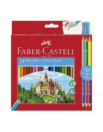 Creioane colorate 24 culori Faber Castell + ascutitoare si 3 creioane bicolore