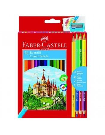 Creioane colorate 36 culori Faber Castell + ascutitoare, 3 creioane bicolore si 1 creion grafit