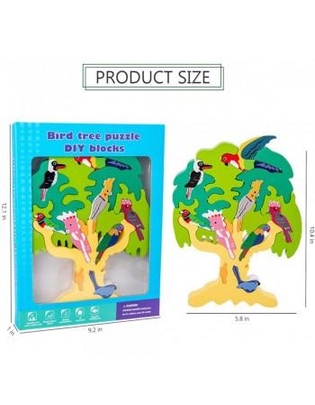 Puzzle lemn Copacul cu pasari