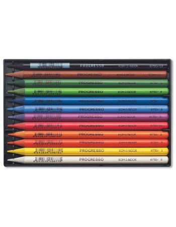 Creioane colorate PROGRESSO, fara lemn, 12 culori/set  KOH-I-NOOR